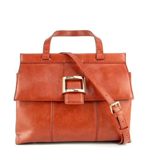 Orange handbag with flap