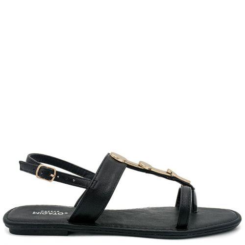 Black flat sandal with metal decoration