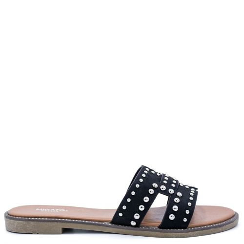 Black sandal with studs