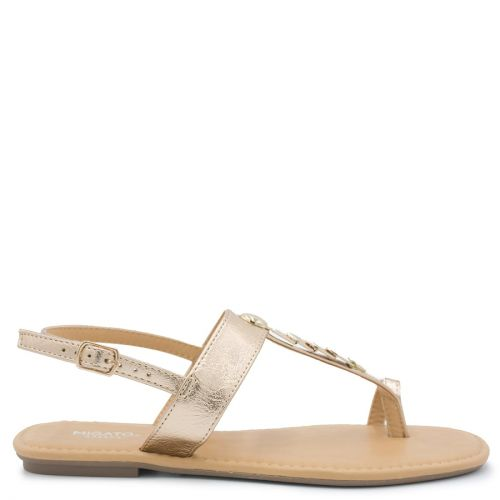 Pink gold flat sandal with metal decoration