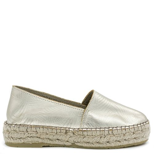 Gold leather espadrille