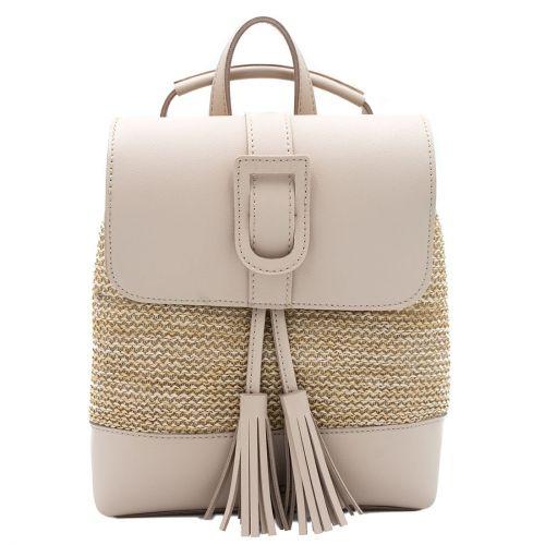 Μπεζ straw backpack