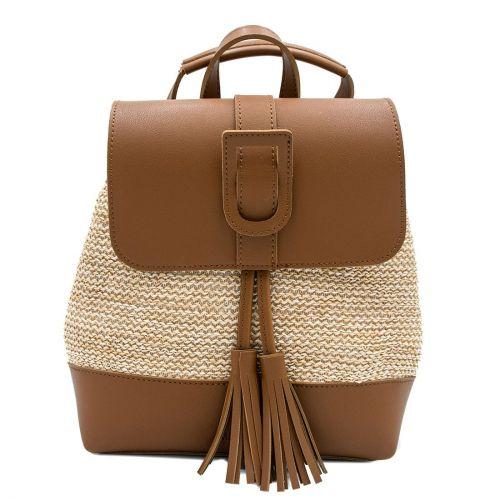 Καφέ ψάθινο backpack