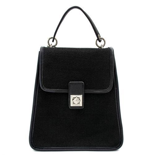 Black linen backpack