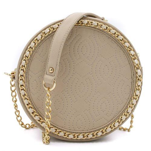 Beige round shaped crossbody bag