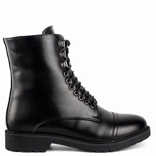 Black army boot with stitches