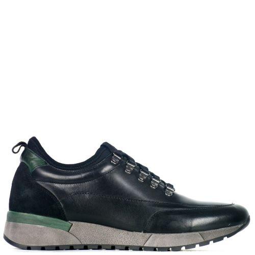 Men's black leather sneaker