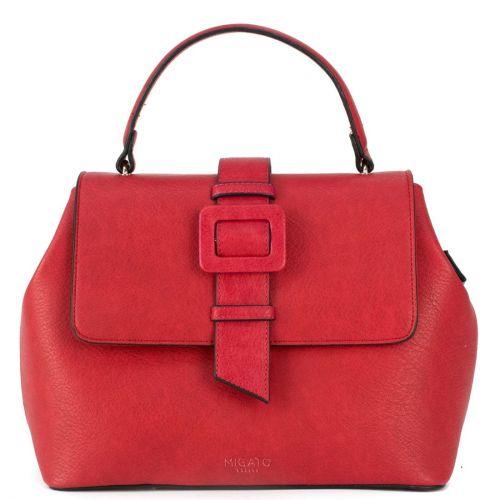Red handbag with buckle
