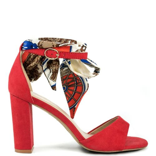 Red suede sandal with ribbon