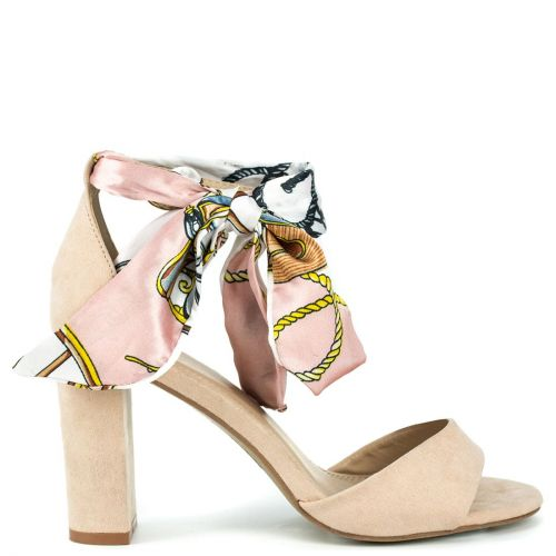 Nude suede sandal with ribbon