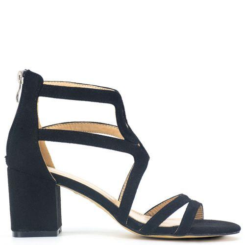 Black high heel sandal in suede