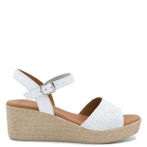 White leather wedge
