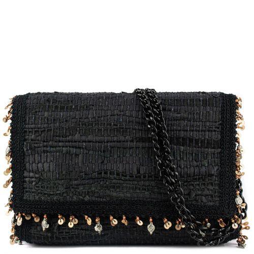 Μαύρη δερμάτινη τσάντα  ώμου
