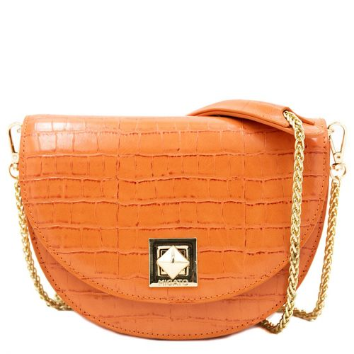 Orange croco textured crossbody bag