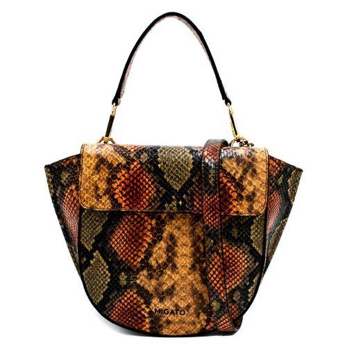 Orange snake textured handbag