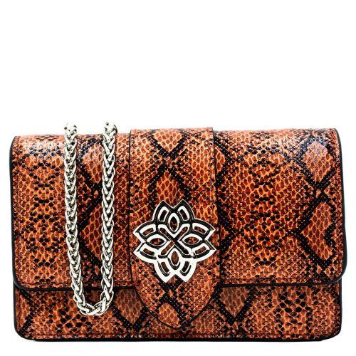 Orange snakeprint shoulder bag