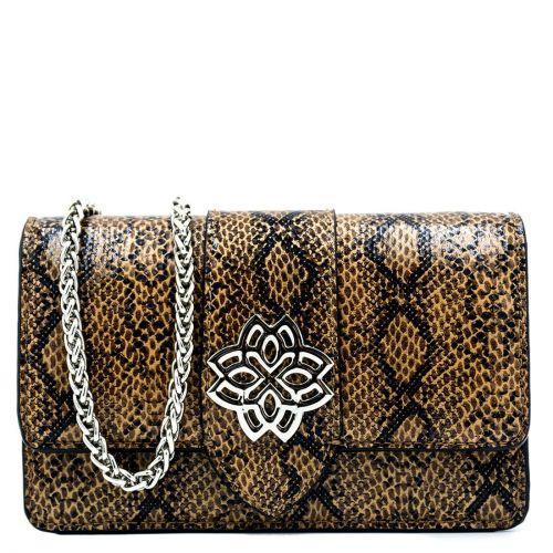 Brown snakeprint shoulder bag