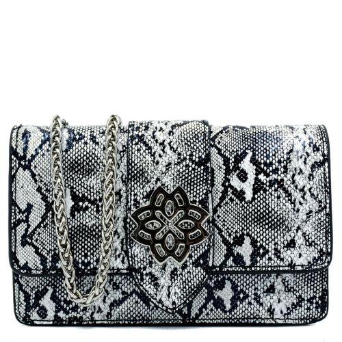 Black white snakeprint shoulder bag