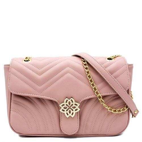 Ροζ καπιτονέ τσάντα με αγκράφα