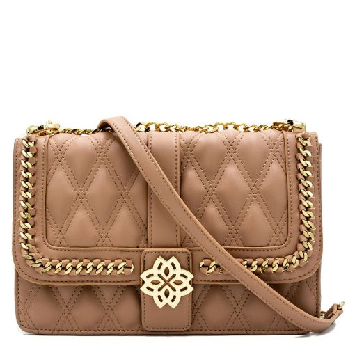 Beige quilted bag with buckle