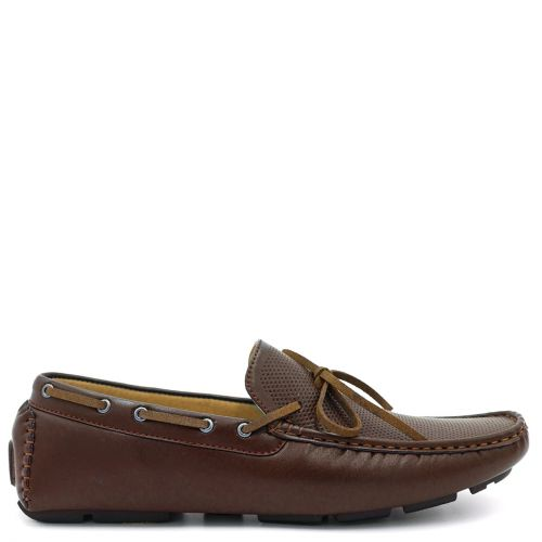 Mens brown moccasin with tie