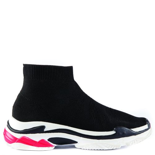 Black textile elastic sneaker