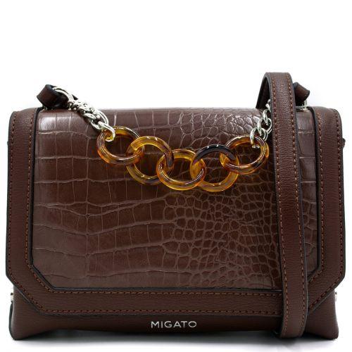 Brown croco crossbody bag