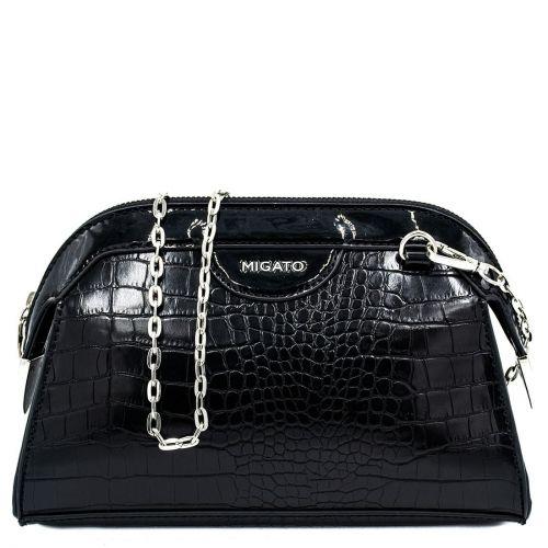 Black croco crossbody bag