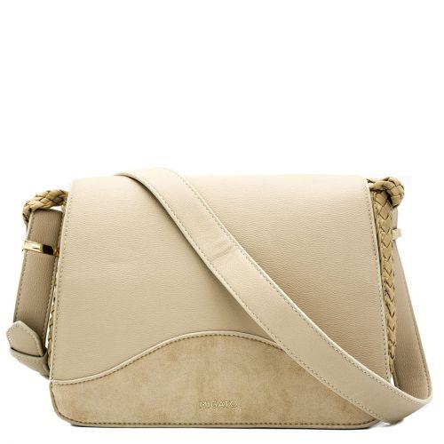 Beige crossbody bag with a flap