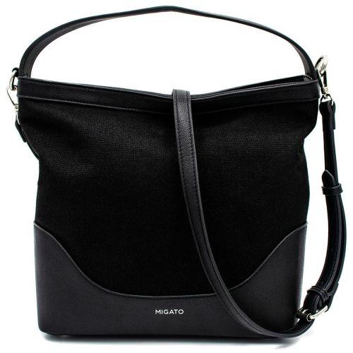 Black linen hobo bag