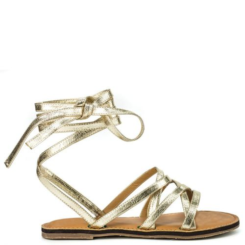 Gold lace up sandal