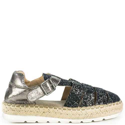 Black espadrille with glitter