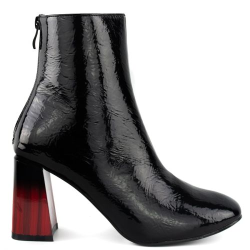 Black bootie with black and red heel