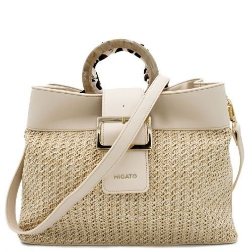 Beige straw shoulder bag