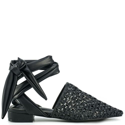 Black mule with lace up straps