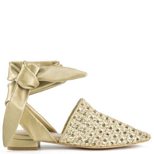 Gold mule with lace up straps