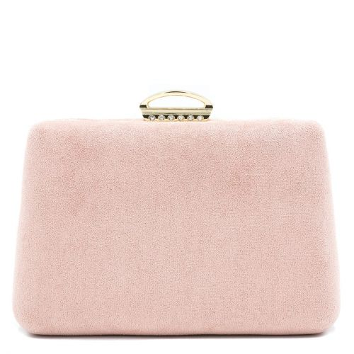 Pink suede textured clutch