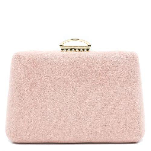 Ροζ clutch με καστόρινη υφή