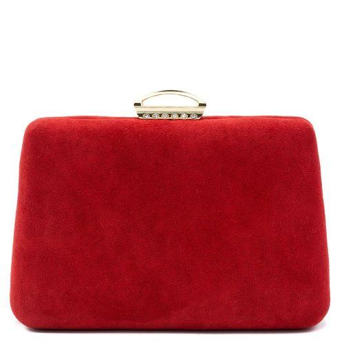 Red suede textured clutch