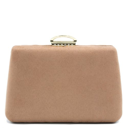 Beige suede textured clutch