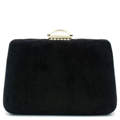 Black suede textured clutch