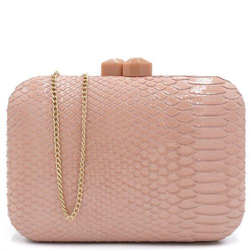 Pink snake textured clutch