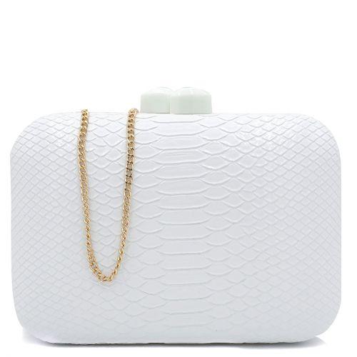 Λευκό clutch με υφή φίδι