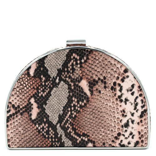 Ροζ clutch με υφή φίδι