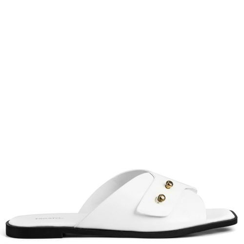 White flat sandal with studs