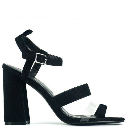 Black high heel sandal with pvc