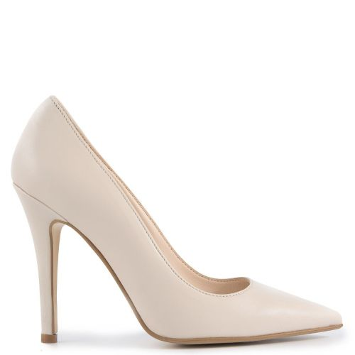 Beige leather pump
