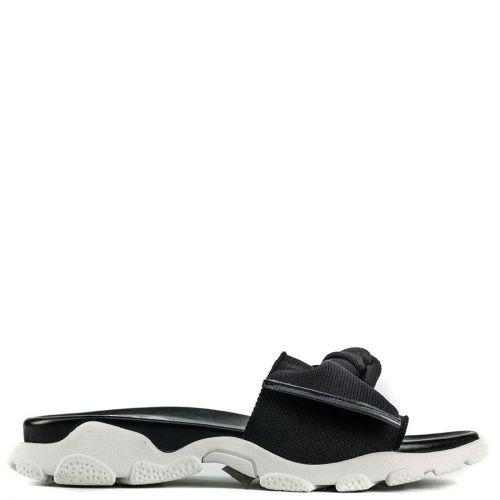 Black slide sandal with bow