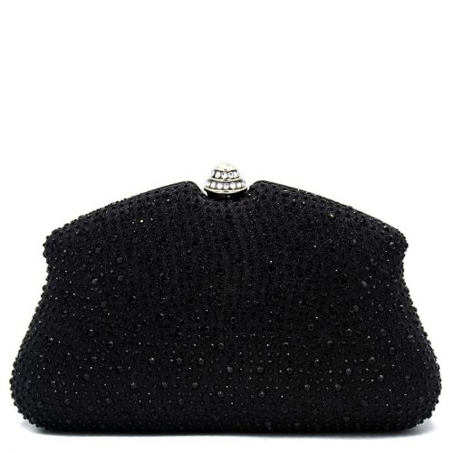 Black clutch with rhinestones
