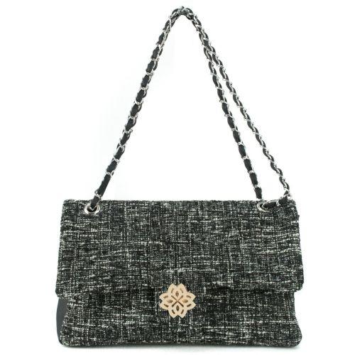 Μαύρη τουίντ τσάντα ώμου